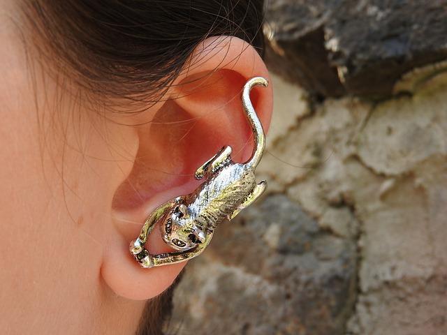 Ženské ucho s veľkou striebornou náušnicou v tvare mačky.jpg